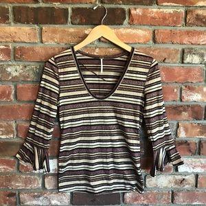 Free People Ruffle Sleeve Stripe Shirt